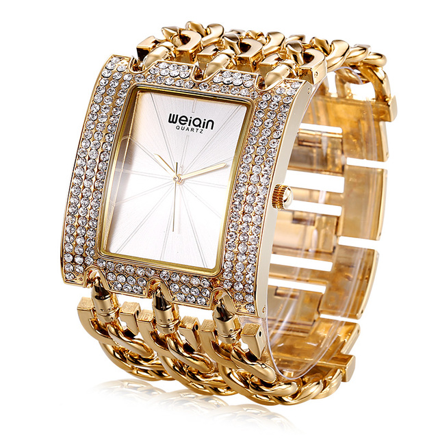 WEIQIN Ladies Bracelet Watch With Silver Rhinestone Square Dial