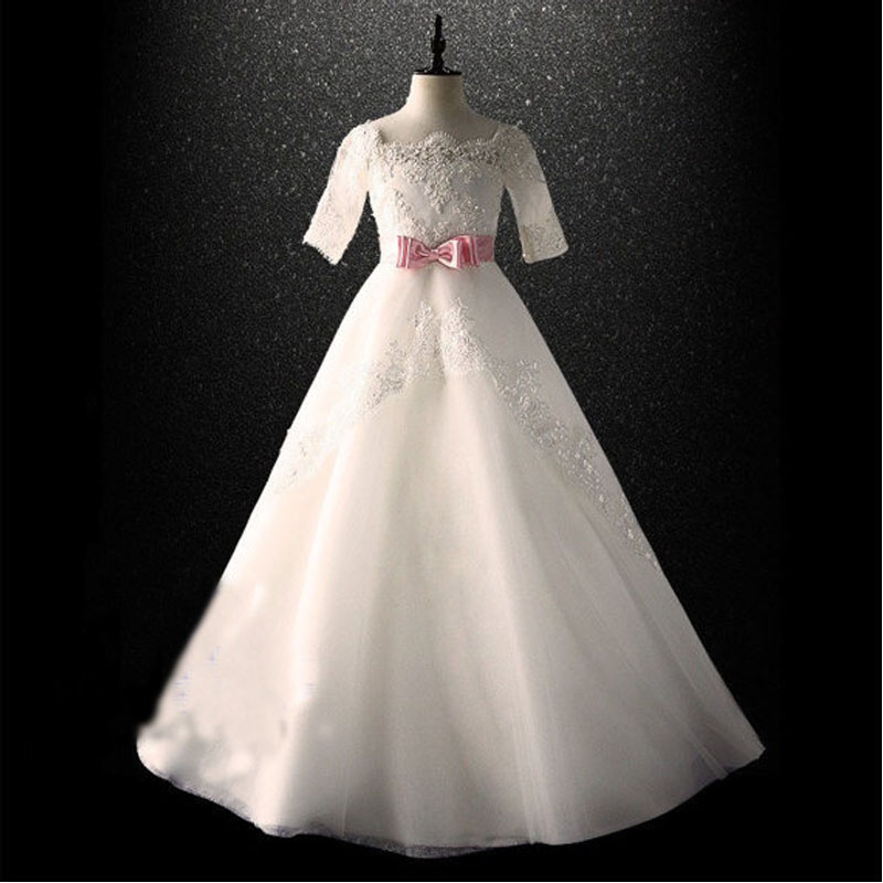 Здесь продается  Short Sleeve Flower Girls Dresses For Wedding Gowns Ankle-Length Mother Daughter Dresses Lace Kids Dresses for Girls  Детские товары