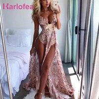 Karlofea Sexy Low Deep V Neck Shiny Sequin Long Dress For Ladies Evening Party Vestidos High Split Floor Length Birthday Dresses