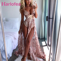 Karlofea Sexy Low Deep V Neck Shiny Sequin Long Dress For Ladies Evening Party Vestidos High Split Floor Length Birthday Dresses