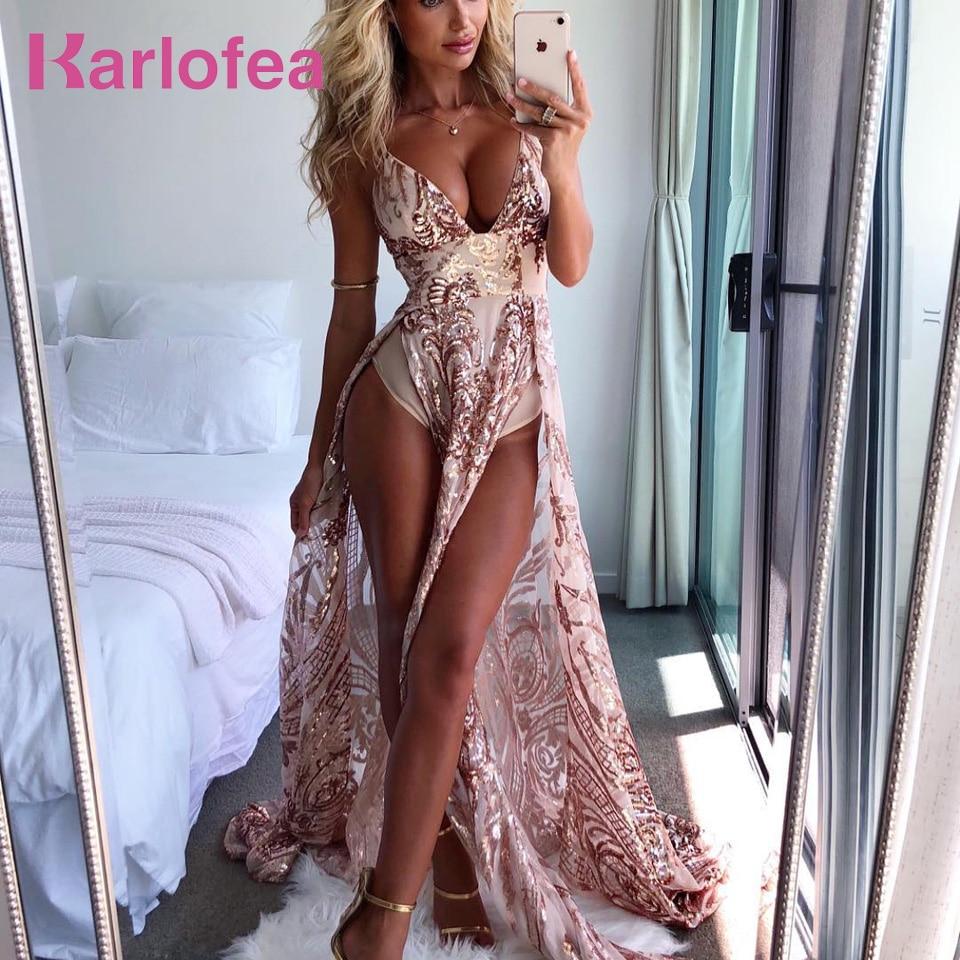Karlofea Sexy bajo profundo cuello en V brillante vestido largo de lentejuelas para damas Vestidos de fiesta de noche alto dividido piso-longitud Vestidos de cumpleaños