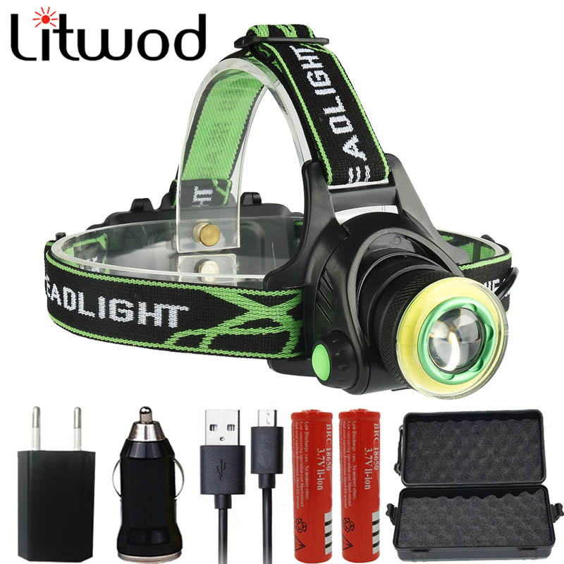 Litwod Z207403 CREE XML2-T6 COB Led Headlamp Headlight Micro USB Charger Head Lamp Portable Light Torch Lantern