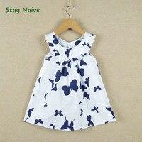 Retail 2014 New Summer Children Girls Dress Cotton Print Butterfly Long Design T Shirt 2 7Y