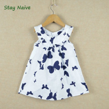 Retail 2017 New summer children girls dress,cotton print butterfly long design t-shirt 2-7Y