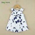 Vestido de las muchachas al por menor 2017 Nuevos niños del verano, mariposa impresión de algodón del diseño largo de la camiseta 2-7Y