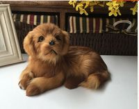 cute simulation golden dog model toy polyethylene&furs lying dog doll gift about 21x13x13cm 1392