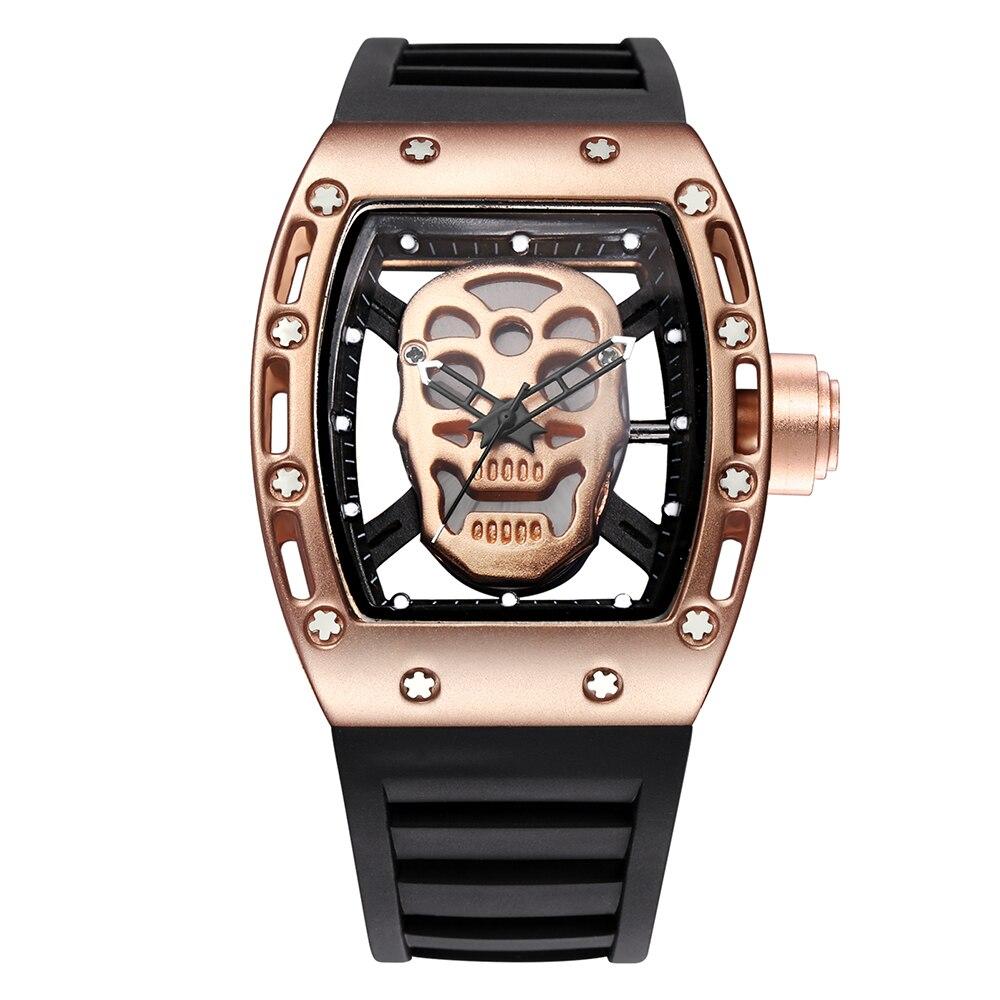 2017 Top brand Men's movement Trendy watch Big dial pirate Skull watch Men's watch Street fashion waterproof Quartz watch