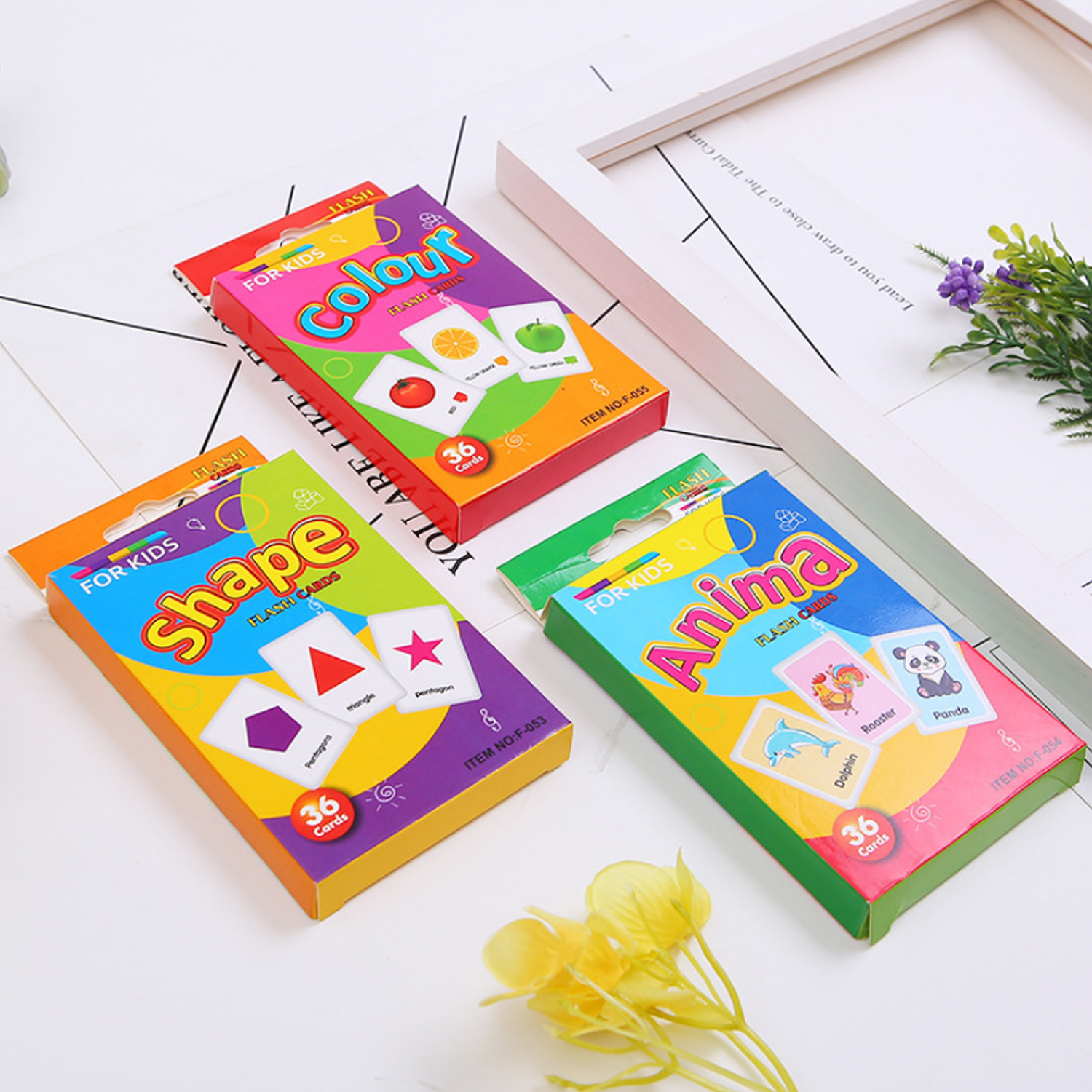 36PCS Funny Flash Cards Cognition Puzzle Early Education Learning Toys For Toddler Kids Children Birthday Christmas Gifts