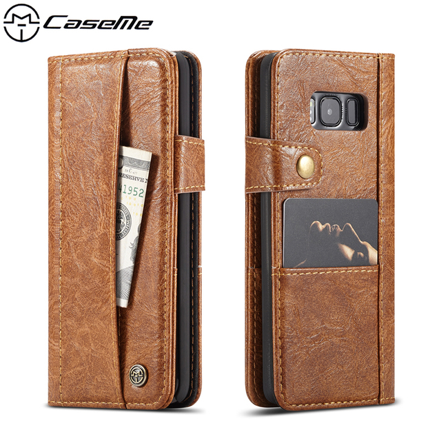 CaseMe Luxury Retro Phone Cases for Samsung Galaxy S8 Cover 5.8'' SM-G950 G950F PU Leather Case Flip Wallet Card Slot Back Cover