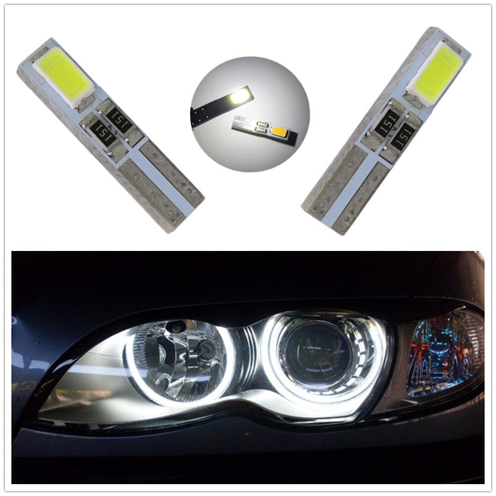 WLJH 50pcs Led T5 W3W 5730 SMD 37 74 Angel Eyes LED for Headlight Wedge Instrument Panel Tacho Gauge Cluster Lamp Bulb Car Light