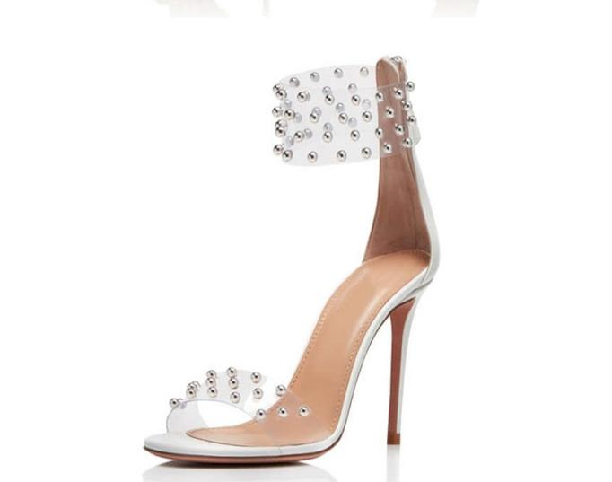 Europe and the United States 2019 spring and summer fish mouth PVC stitching hollow high heel rivet word with back zipper sandalEurope and the United States 2019 spring and summer fish mouth PVC stitching hollow high heel rivet word with back zipper sandal