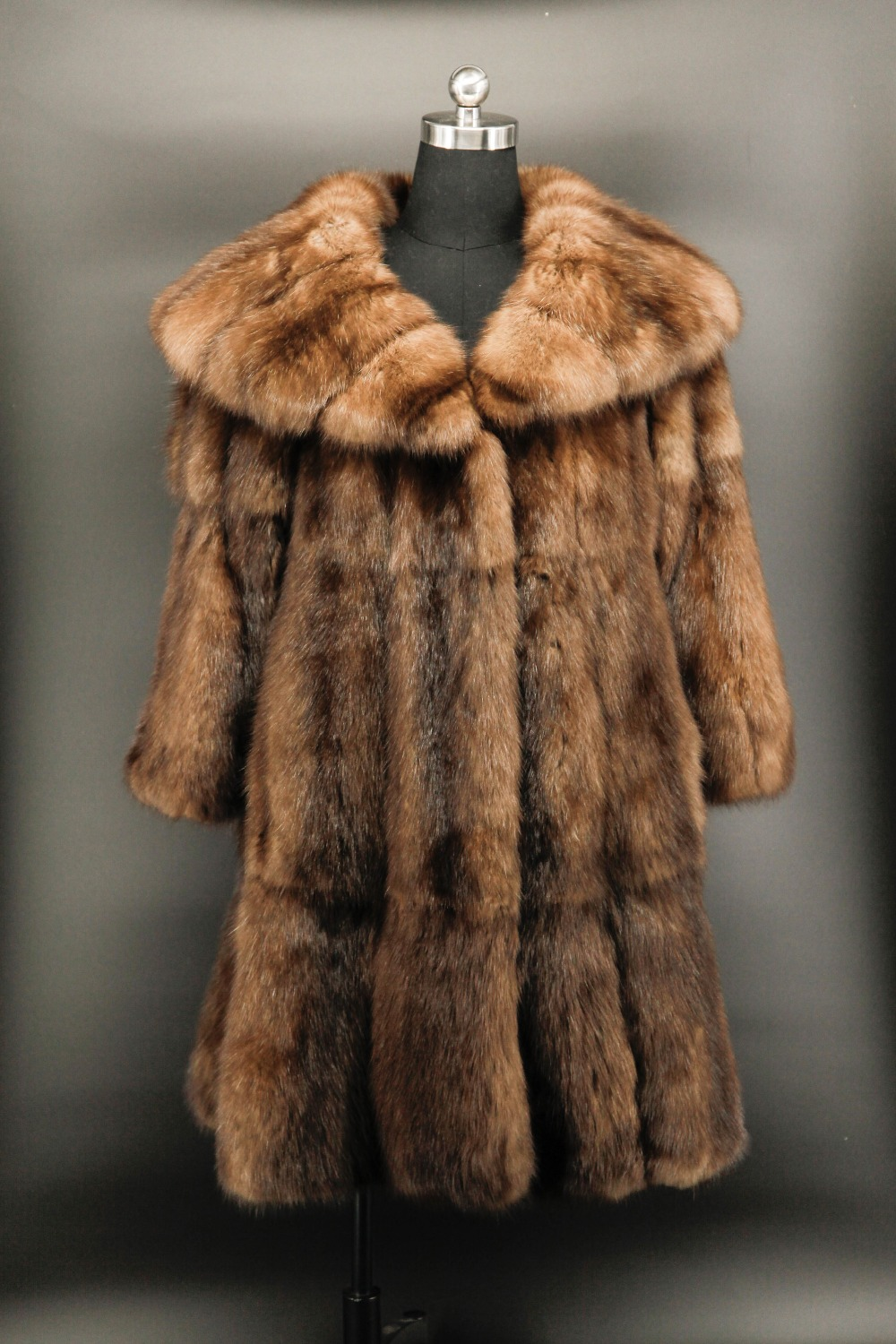 Arlenesain custom real sable fur long women coat with big collar(China)