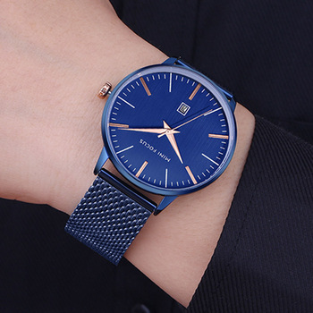 2019 Top Brand Luxury Men Watches Blue Strap Waterproof Date Quartz Watch Man Full Steel Dess Wrist Watch Men Clock Male Waches image