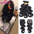 8A Peruvian Body Wave with Lace Closure Hair Bundles 4 pcs lot Virgin Peruvian Human Hair with Closure Weave iwish Hair Products