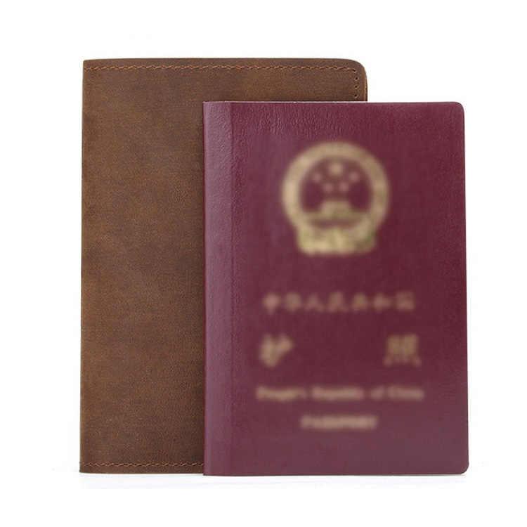Craz Horse Funda de cuero genuino para pasaporte funda de pasaporte de marca Retro para hombre funda de pasaporte para el pasaporte