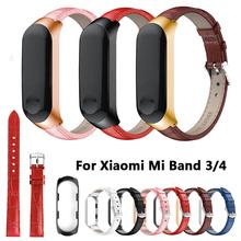 Kolorowe skórzane paski dla Xiao mi mi zespół 3 inteligentne opaska akcesoria dla Xiao mi mi zespół 3 inteligentny pasek na nadgarstek dla Xiao mi mi zespół 4 tanie tanio centechia Pasek zegarka