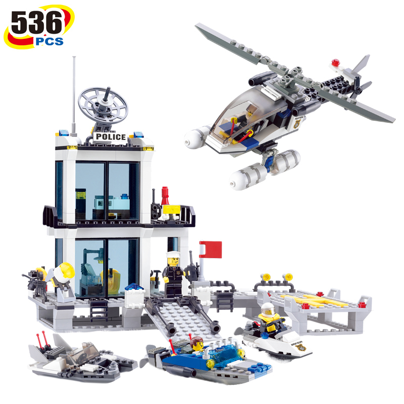 536pcs Police Station Prison Figures Building Blocks Compatible Legoed City Enlighten Bricks Educational Toys For Children