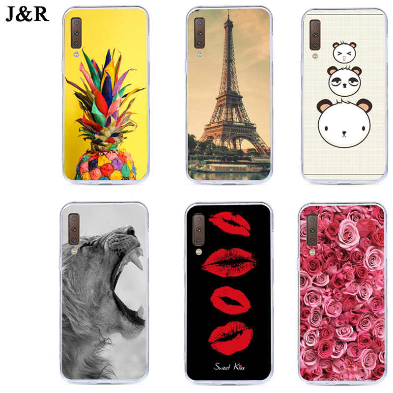 Case For Samsung A7 2018 A750 Cover Silicone Phone Cases For Samsung Galaxy J4 J6 J8 A6 PLUS 2018 Back Covers Cute Cartoon Paint