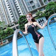 Embroidery Floral One Piece Black Monokini Swimsuit Push Up Women Swimwear Retro Bodysuit High Neck Swim Dress Bikini 1 piece XL