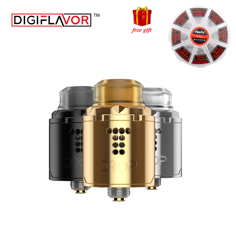 Free gift Digiflavor Drop Solo RDA single coil 22mm two caps standard 510 and BF Squonk 510 pin deep base VS ammit 25 цена
