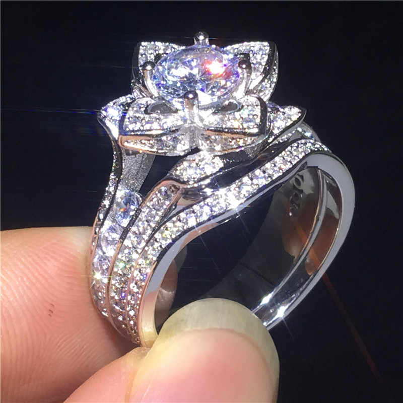 Vecalon flor anel de promessa conjunto 925 prata esterlina aaaaa cz noivado anéis de banda de casamento para mulheres vintage dedo jóias