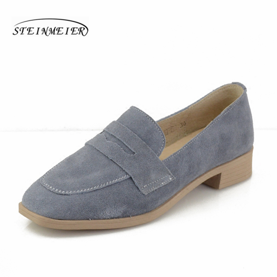 Women genuine   suede     leather   vintage flat oxford shoes square toe handmade green white grey mules oxford shoes for women