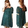 Maternity clothing  Polka dot Green Chiffon Casual Dress Vestido For Pregnant Women Plus Size  Novelty dresses clothes Summer