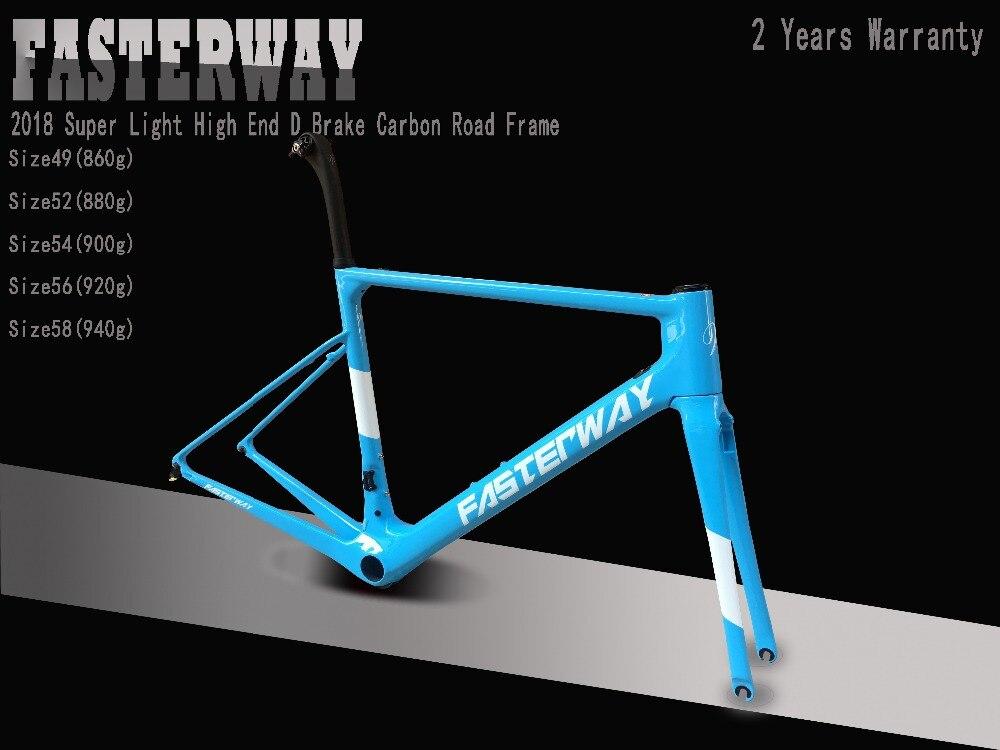 Light Blue 2019 TAIWAN FASTERWAY Classic Carbon Road Frameset UD Weaves Carbon Bike Frame:Frameset+Seatpost+Fork+Clamp+Headset