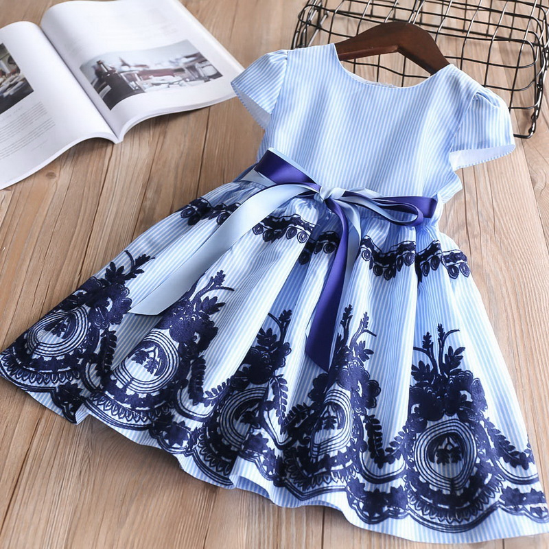 2019 Summer Blue Stripe Embroidery Dress For Baby Girls Children Cotton Causal Dress Kids Clothes 2-6Y LT011