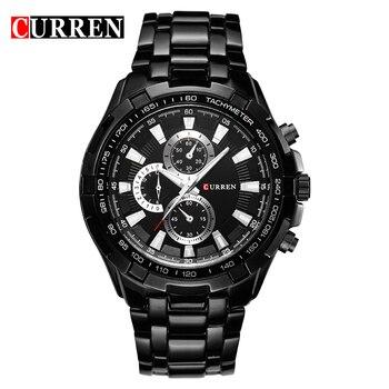 CURREN 2018 New Luxury Fashion Analog Military Sports Men Watches Full Steel Band Black Quartz Male Clock Relogio Masculino - discount item  44% OFF Men's Watches