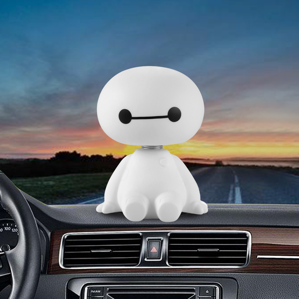 Car Interior Robot Bobble Head Shaking Head Auto Toys Big Hero Baymax Car Decoration Doll Ornament Car Accessories