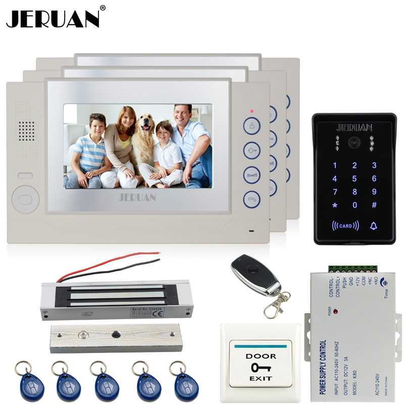 JERUAN 7`` video door phone Record intercom system Kit 3 monitor New waterproof Touch Key password keypad Camera 8G SD Card Free jeruan 7 lcd video door phone record intercom system 3 monitor new rfid waterproof touch key password keypad camera 8g sd card