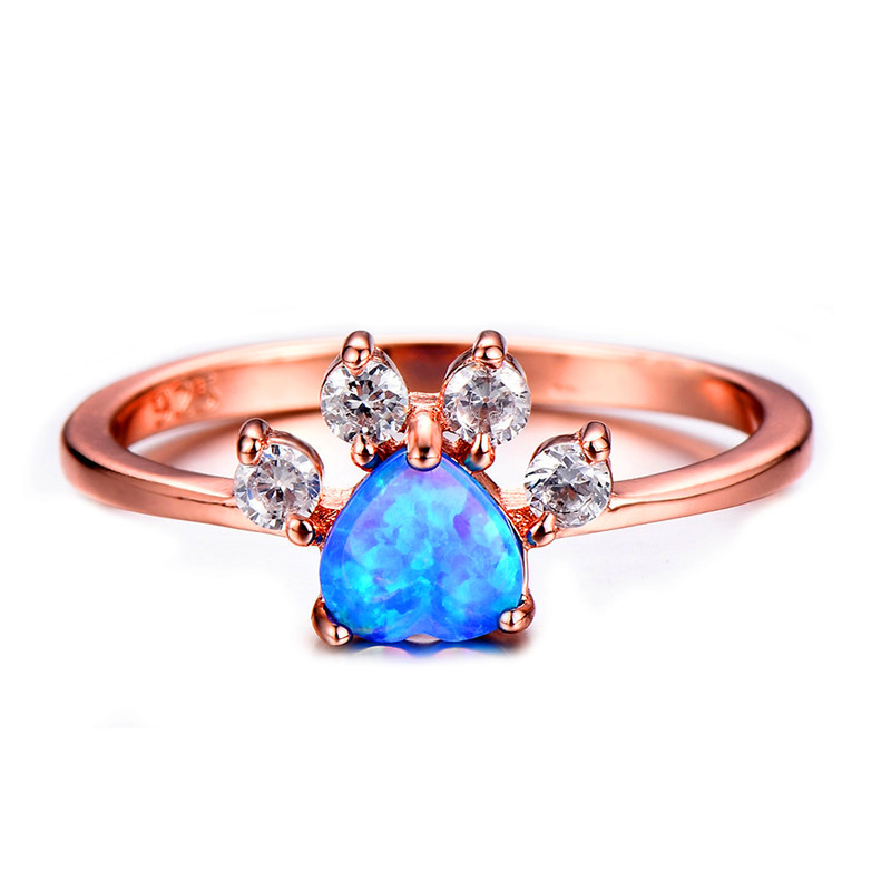 Cute Bear Paw Cat Claw Ring Rose Gold Filled Rings For
