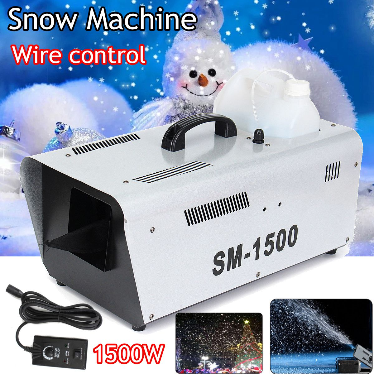 110 V/220 v 1500 W haute production neige Machine artificielle flocon de neige DJ Disco w à distance et 5L fluide