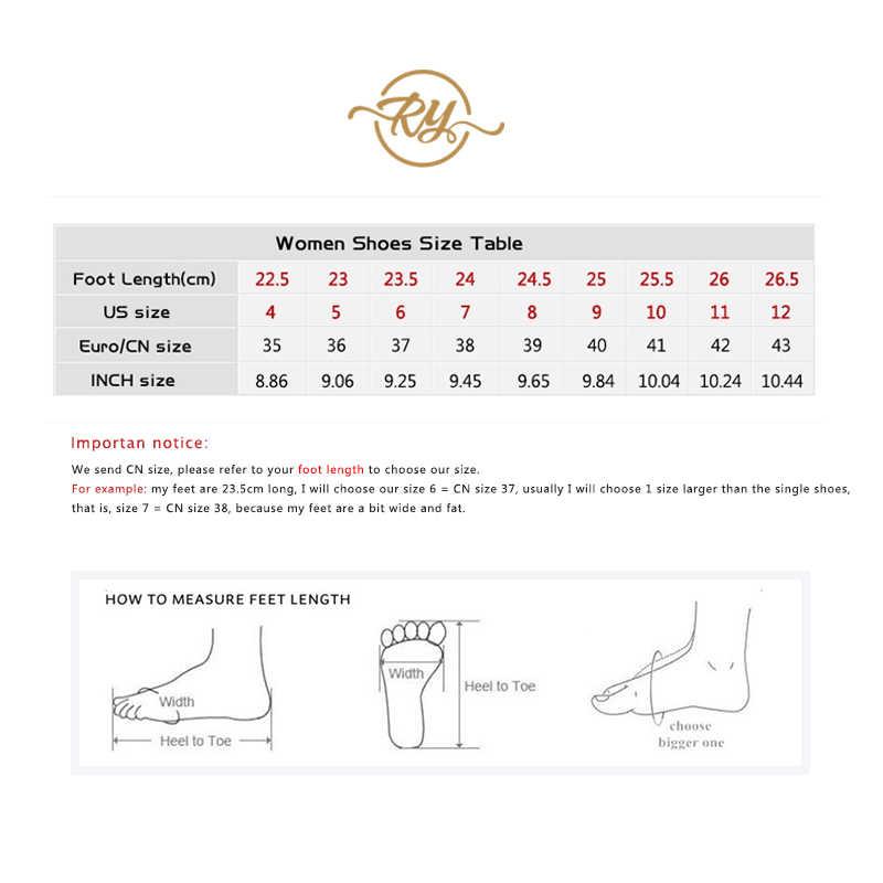 RY-RELAA Nữ Giày Thời Trang Nữ Cao Cấp 2018 Da Thật Chính Hãng Da Nữ Ins Phong Cách Đá Trắng Giày Lấp Lánh Giày