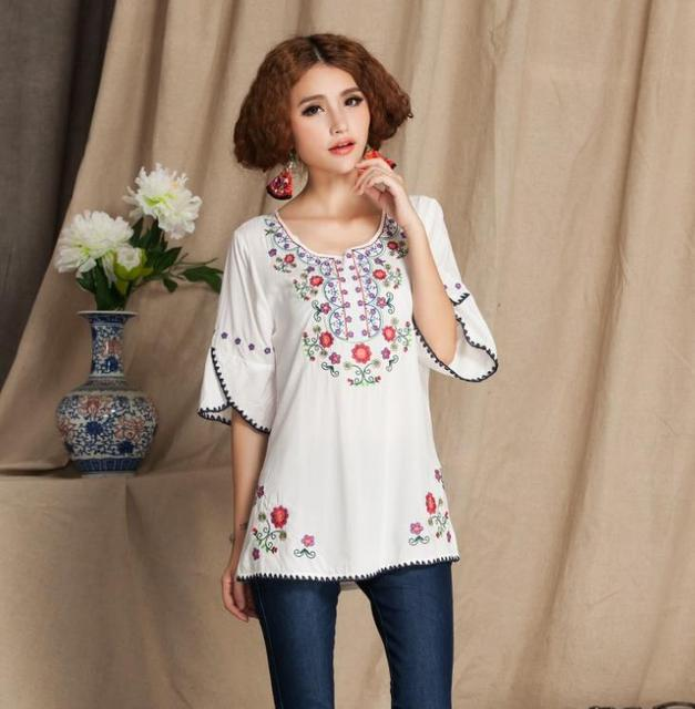 3bdad913b1e41 Womens Girls Mexican Embroidered Peasant Tops Mexican Bohemian Vintage  Ethnic Tunic Blouses