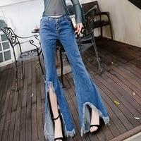 2018 новый Тонкий бахромой по канту разрез Высокая талия джинсы брюки Широкие штаны брюки джинсы бойфренды для Для женщин Высокая талия джинс