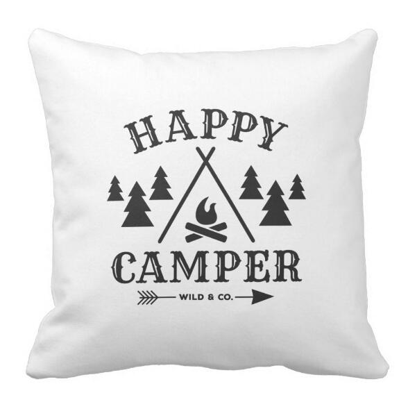 Black White Happy Camper Outdoor Car Home Decorative Cushion Cover