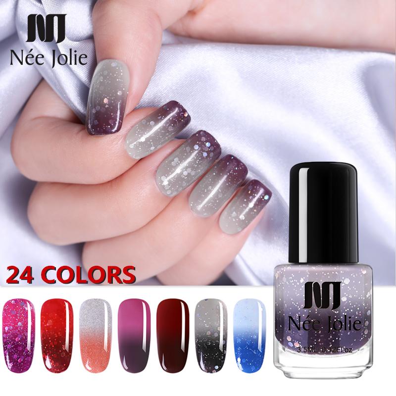 NEE JOLIE 3.5ml Temperature Color Changing Thermal Nail Polish Glitter Effect Fast Dry Manicure Varnish Gradient Nail Lacquer