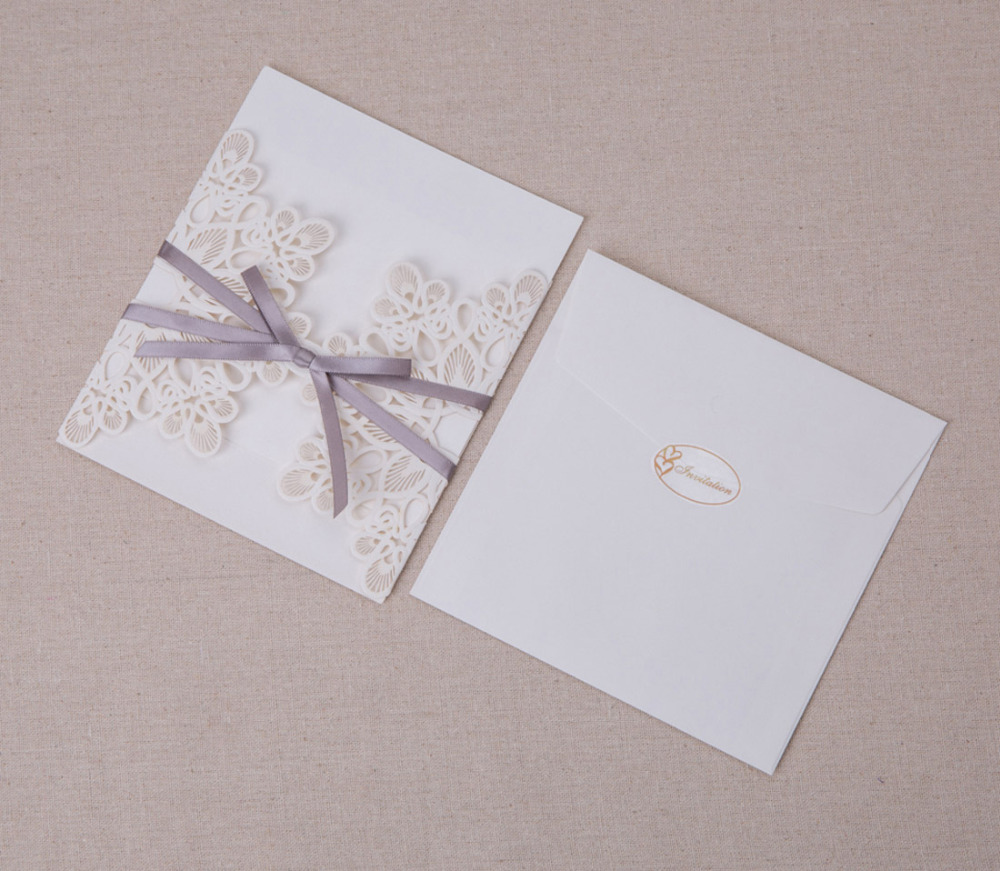 Invitaciones de boda elegantes con corte láser con lazo y flores para tarjetas de invitación personalizables 50 unids/lote-in Tarjetas e invitaciones from Hogar y Mascotas    2