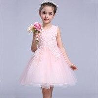 3-10 AÑOS NIÑOS vestido princesa traje bola Encaje perlas collar sin mangas sundress Rosa Suave tul de verano vestido