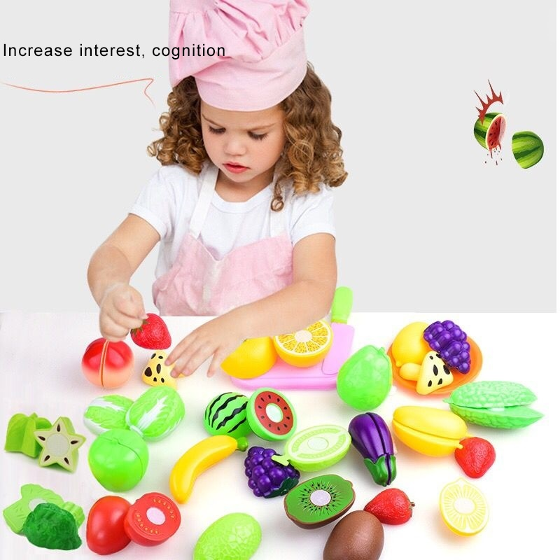 Miniature Kitchen Toys For Children Plastic Fruit Food Cut Pretend Play Home Boys Girls Game Kids Education Share Toy For Baby