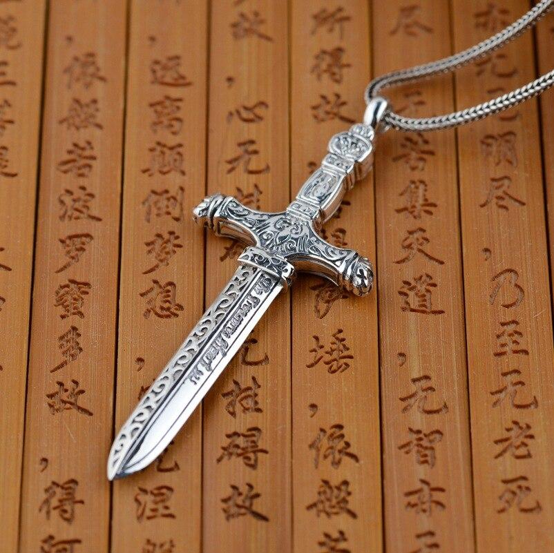 Handmade Retro 925 Sterling Silver Heavenly Sword Pendant Rock Antique Crafts Personality Cross Pendant Mens Accessories 2017