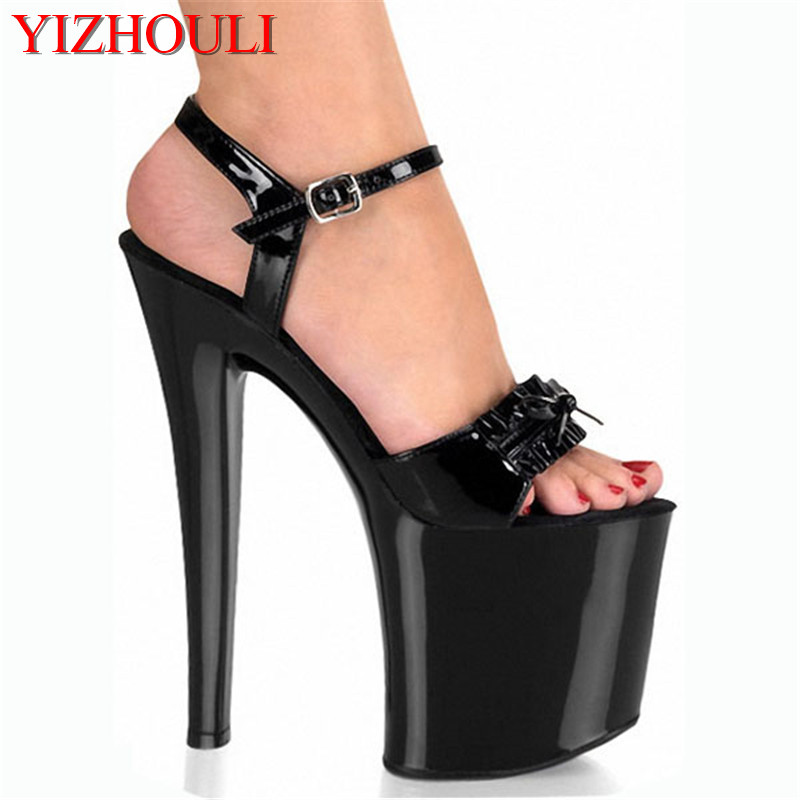 2018 New Sexy Gladiator Style 20cm High Heel Shoes Platform butterfly Sandals Pole Dance Shoes 8 inch Party Shoes classic black 20cm open toe sandals super high heel platform pole dance shoes gorgeous punk 8 inch sexy rivet cover heel sandals