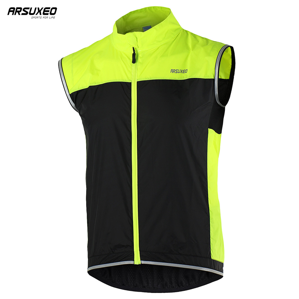 ARSUXEO Cycling Vest Windproof Waterproof MTB Bike Bicycle Breathable Reflective Clothing Cycling Jacket Sleeveless 15V1 2015 arsuxeo mtb 1202