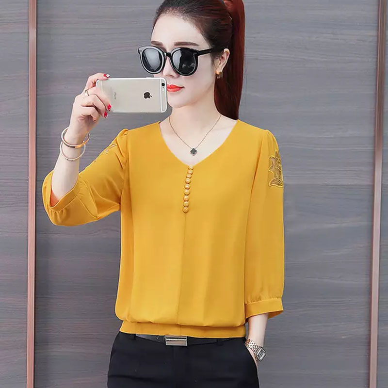 Women Spring Summer Style Chiffon   Blouses     Shirts   Lady Causual V-Neck Three Quarter Sleeve Blusas Tops DF2625