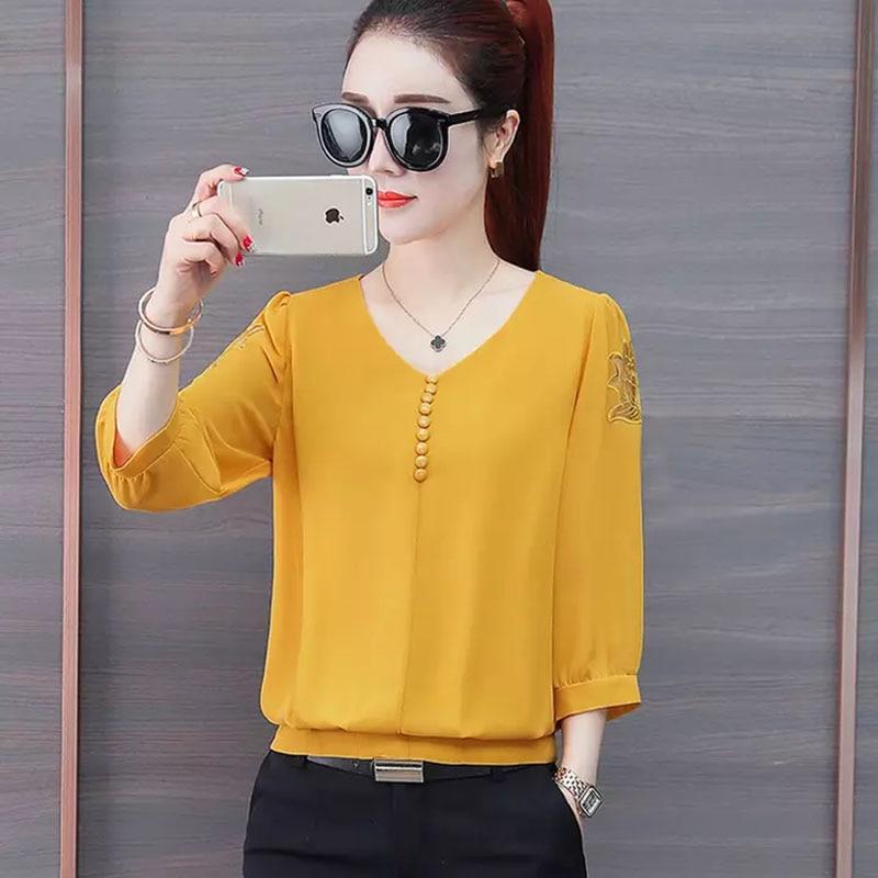 Women Spring Summer Style Chiffon   Blouses     Shirts   Lady Causual V-Neck Three Quarter Sleeve Blusas Tops DF2625