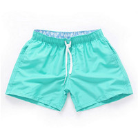 Cyan-Men Beach Sport Swim Trunks Surf Swimwear Quick Drying Briefs