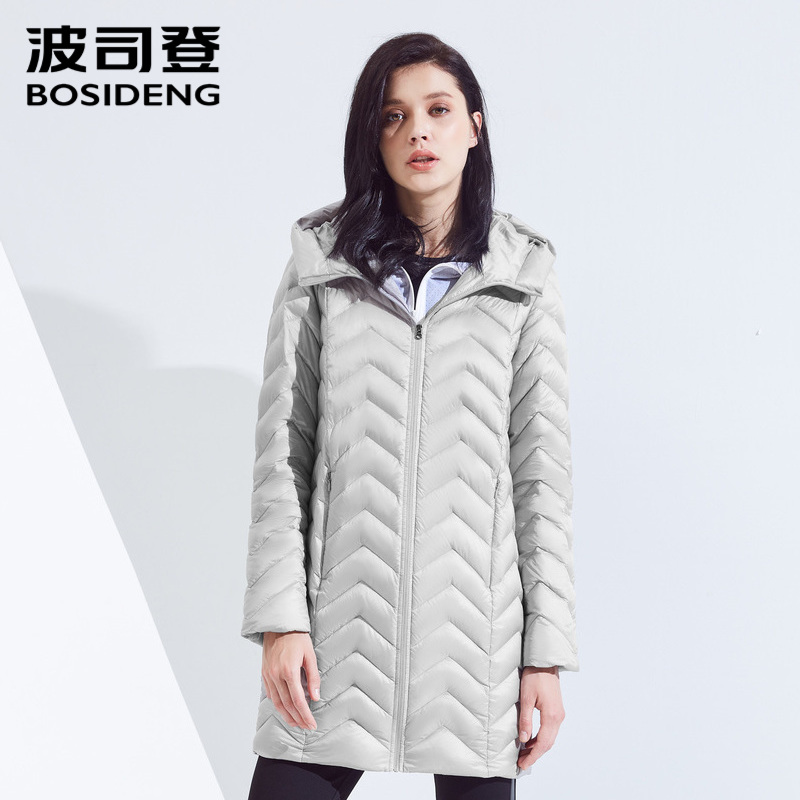 Bosideng duck down jacket women's long section new ladies fashion autumn and winter hooded windbreaker B80131028