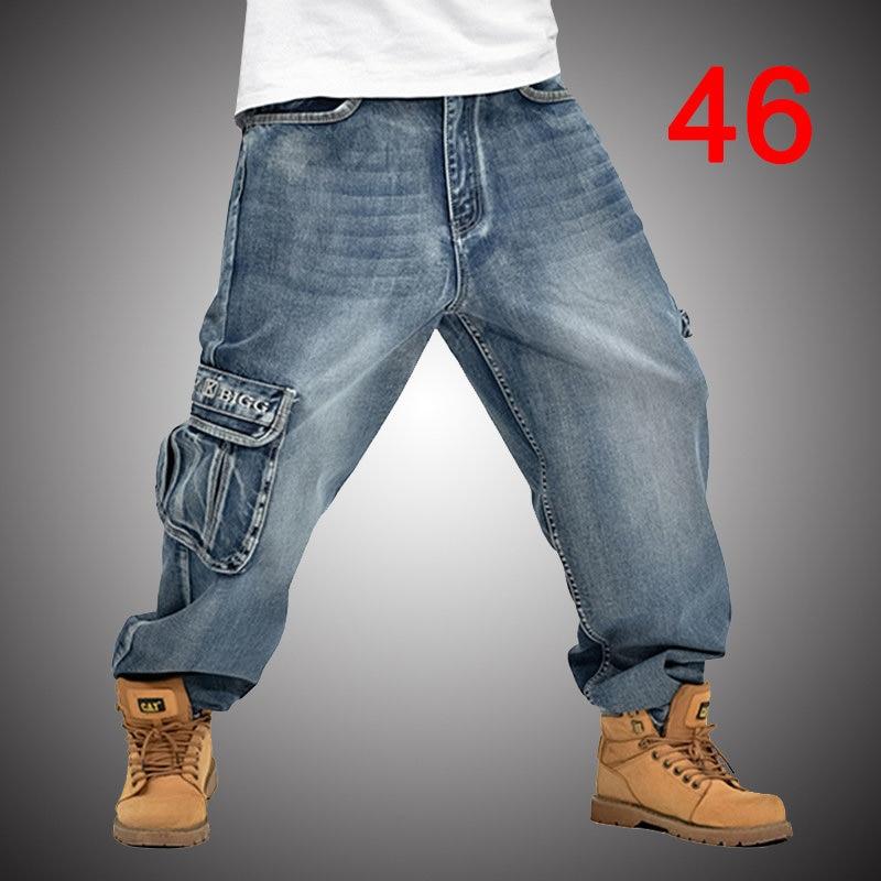 5be54a6816b Мешковатые джинсы Для мужчин джинсовые штаны Свободные уличная джинсы 2018 мода  скейтборд брюки для Для мужчин плюс Размеры брюки сплошной Ц..